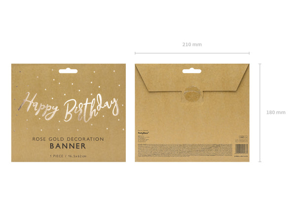 Rose Gold Script Happy Birthday Banner