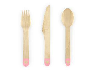 Pink Heart Wooden Cutlery
