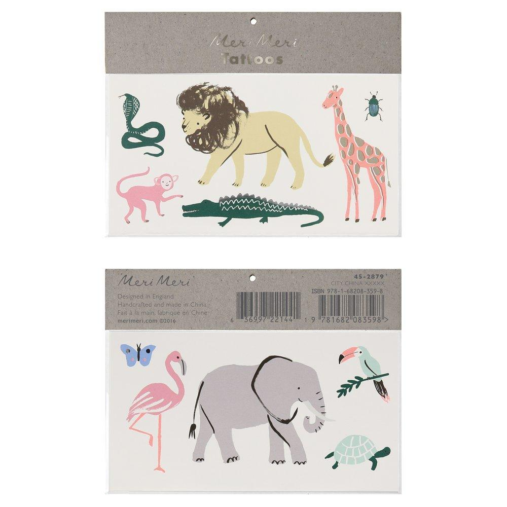 Safari Trek Animal Temporary Tattoos
