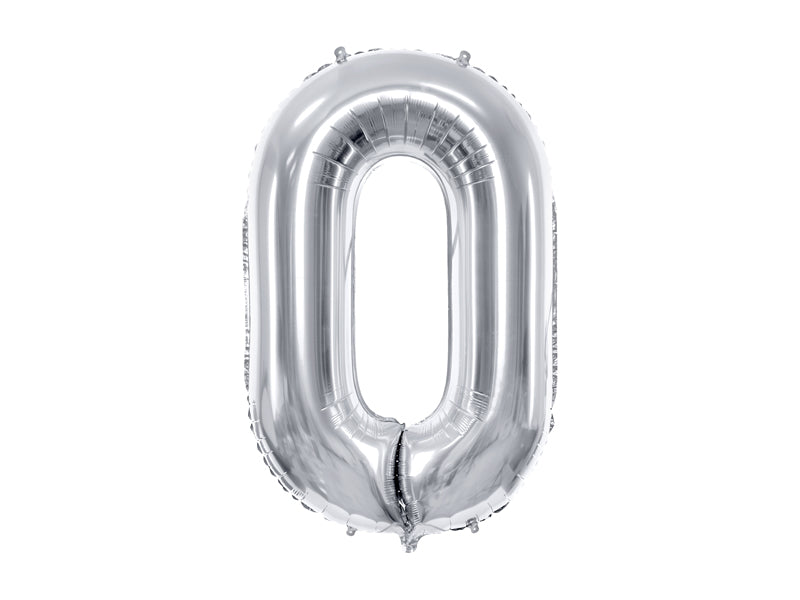 34 inch jumbo silver number 0 foil balloon available at A Little Confetti