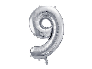 34 inch jumbo silver number 9 foil balloon available at A Little Confetti