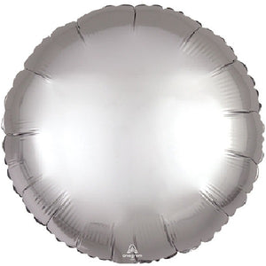 Silver Circle Satin Luxe Balloon - A Little Confetti