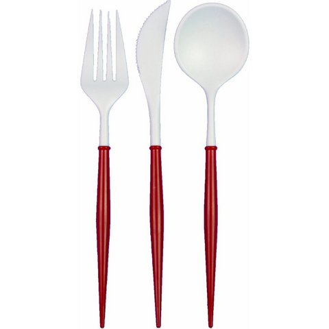 Premium Red Bella Cutlery Reusable Party Cutlery Dishwasher Safe A Little Confetti