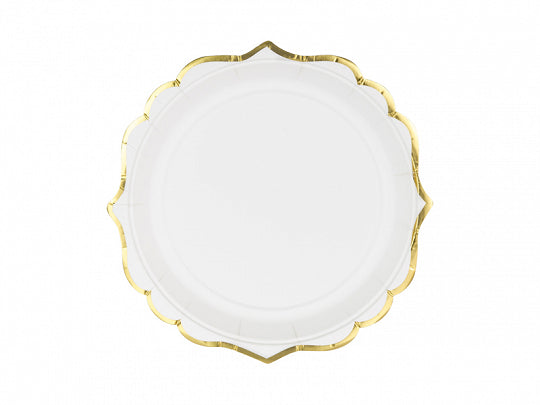 White plates with gold trim  A Little Confetti