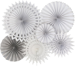 Beautiful White Party Fans, that look like pretty snowflakes. Perfect for your White Christmas