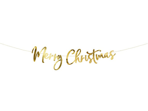 Gold Script Merry Christmas Banner