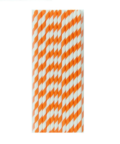 Orange Striped Paper Straws - A Little Confetti