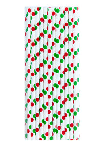Red & Green Dot Straws - A Little Confetti