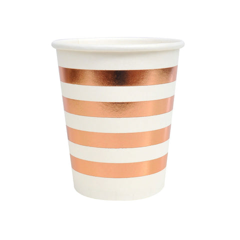 Rose Gold Striped Cups - A Little Confetti