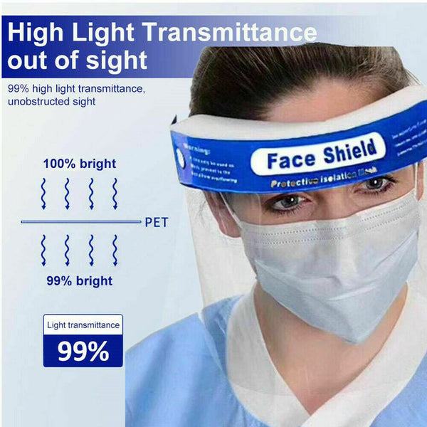 5pcs Safety Full Face Shield Clear Protector Work Industry Dental Anti-Fog