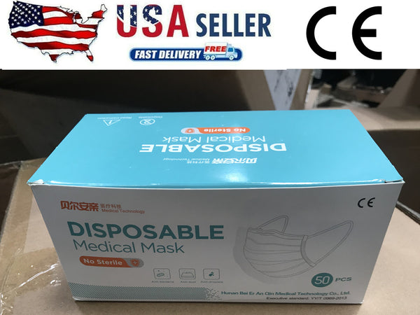 50PCS Face Mask 3-Ply Disposable Medical Masks Mouth cover shield USA