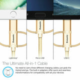 Lot3 Evounic 3 in 1 Type C Micro USB Lightning Charging Cable For iPhone Android
