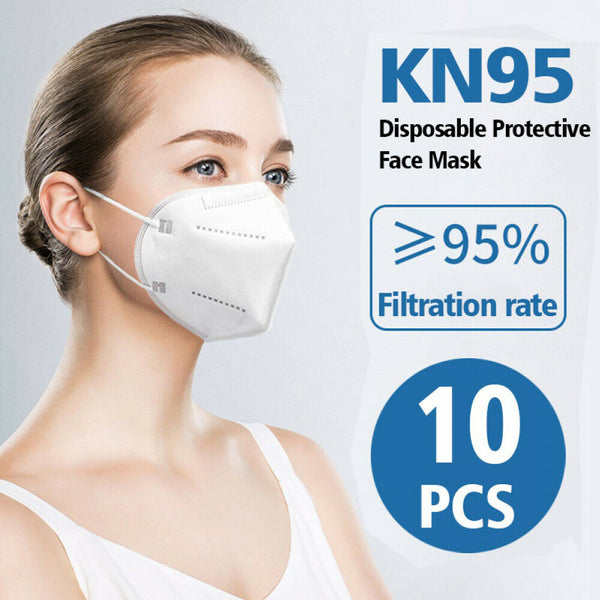 KN95 Disposable Face Mask Respirator 10 Pack Medical K N95 Breathable 5-Layer Protection