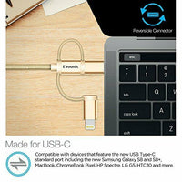 Lot3 EVOUNIC Multi 3 in 1 USB Type C Micro USB Lightning Charging Cable 1m/3.3ft