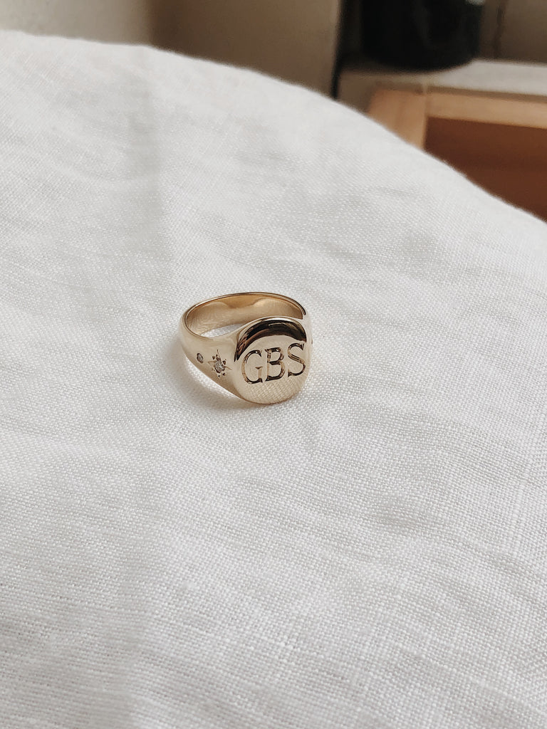 Personalised family heirloom Signet ring with hand engraving and Diamonds. RUUSK jewellery