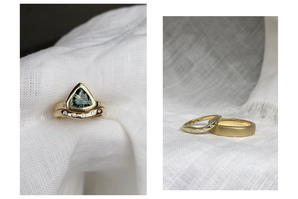 Aaron and Simone's sapphire and Australian gold engagement rings