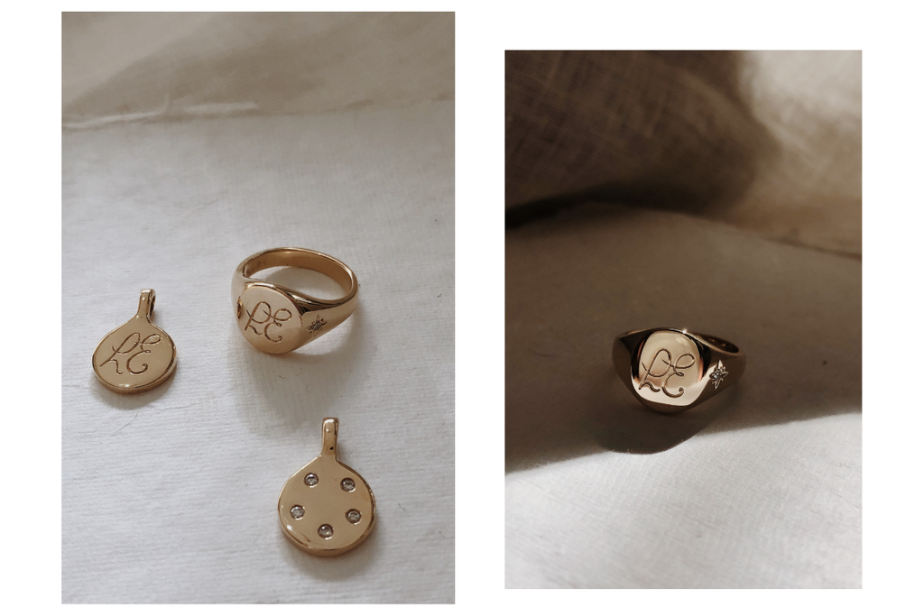 custom signet ring and bespoke diamond pendant - RUUSK heirloom jewellry