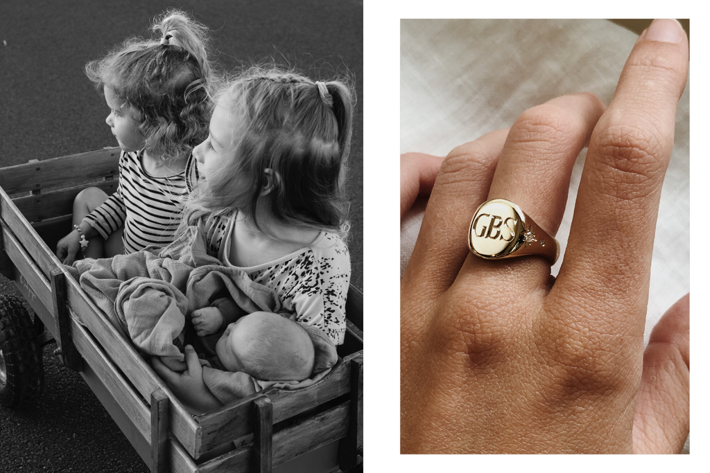 Handmade gold signet and supernova ring. Family heirloom.