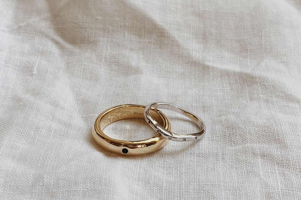 RUUSK custom solid gold wedding bands for him and her.