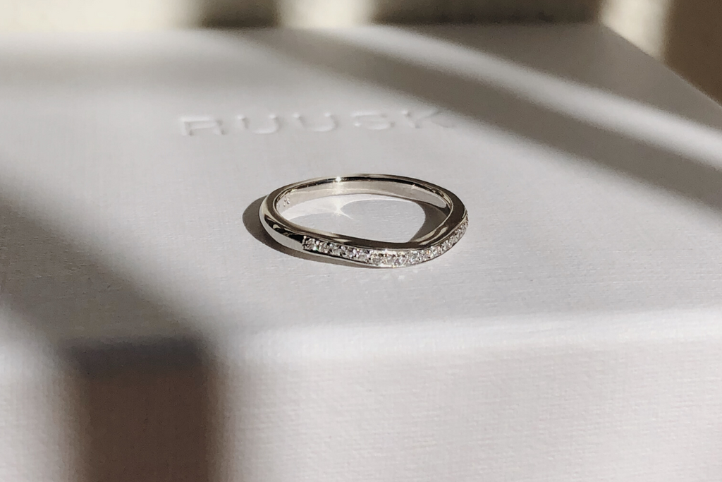 RUUSK white gold diamond wave wedding band. Palm Beach Wedding