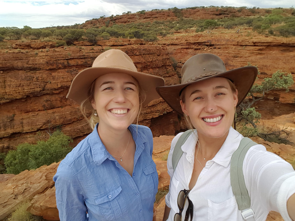 Bec and Mel on her farm in NSW. Her yellow sapphire necklace was mined from here. RUUSK jewellry