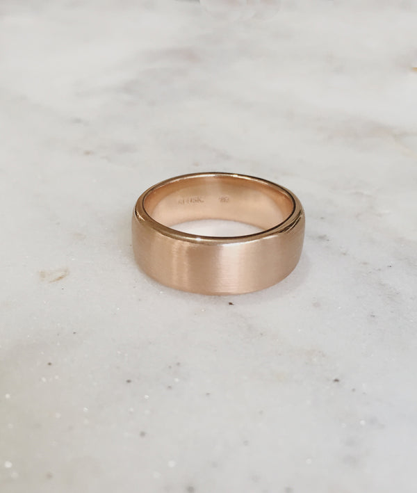 Yellow or Rose Gold 8mm Square Band