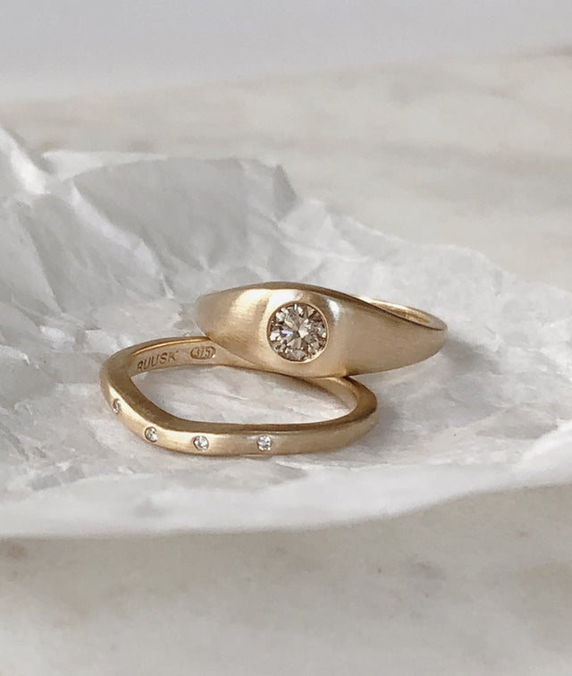 Champagne Diamond Signet & Diamond Wave ring set