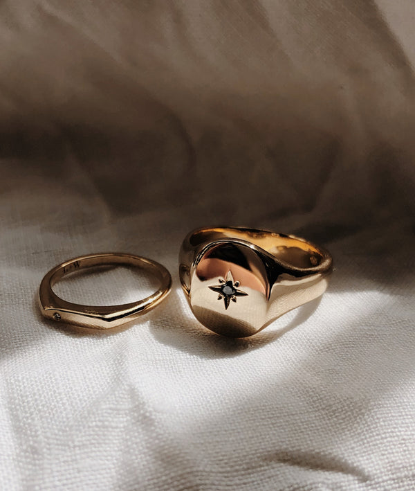 Gold Mens Signet ring with Star set Diamond