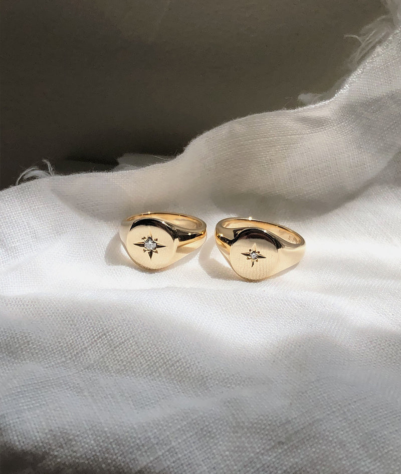 2.5mm Star-set Small Signet ring
