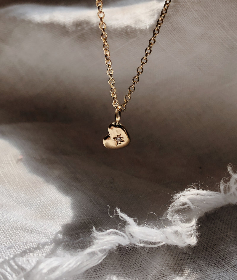 Yellow Gold Tiny Heart of Gold necklace