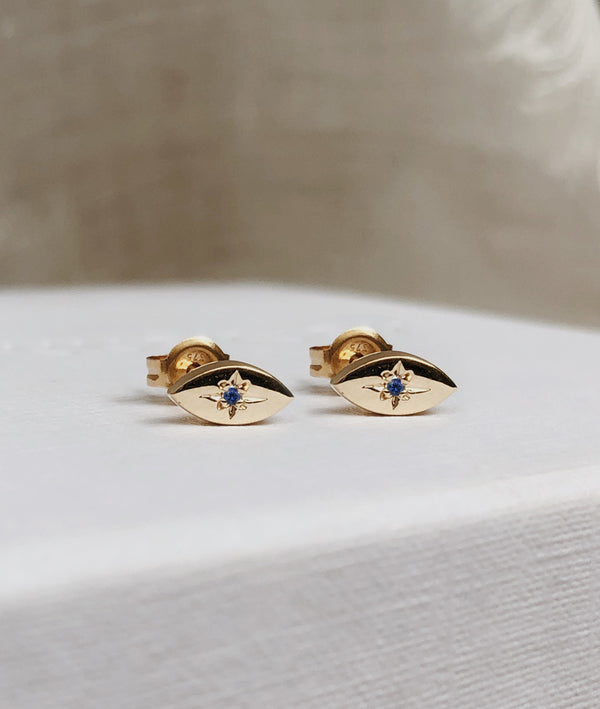 Sapphire Yellow Gold Star-dust Stud earrings