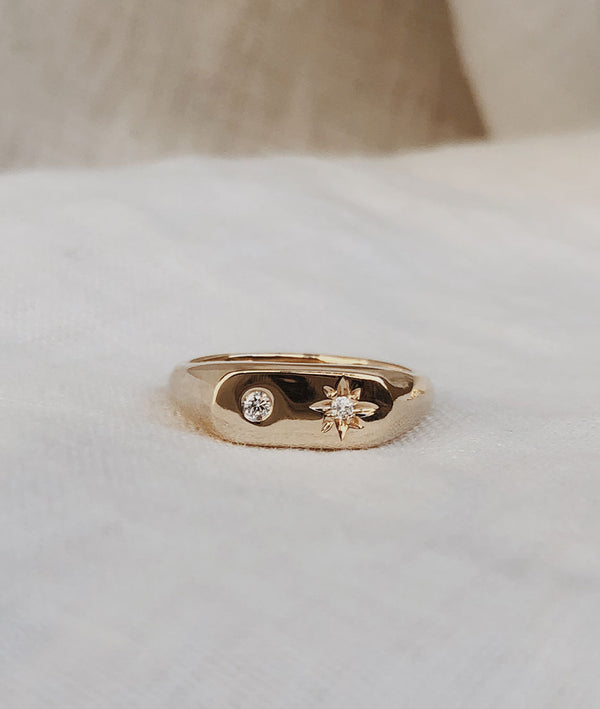 Moon & Stars Oval Signet Ring