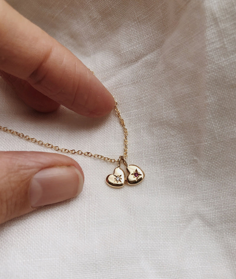 A Tiny Set of Hearts necklace