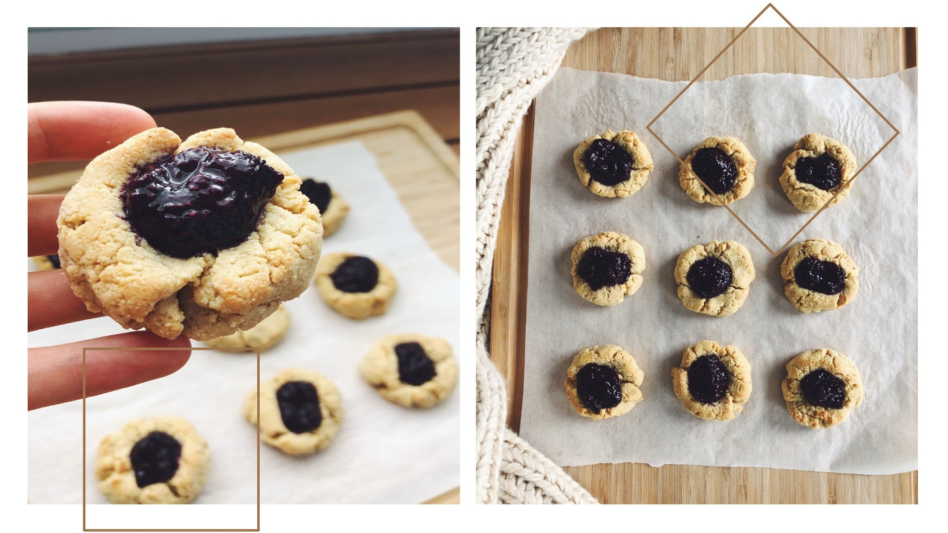 Cashew Blueberry Jam Drop Cookies