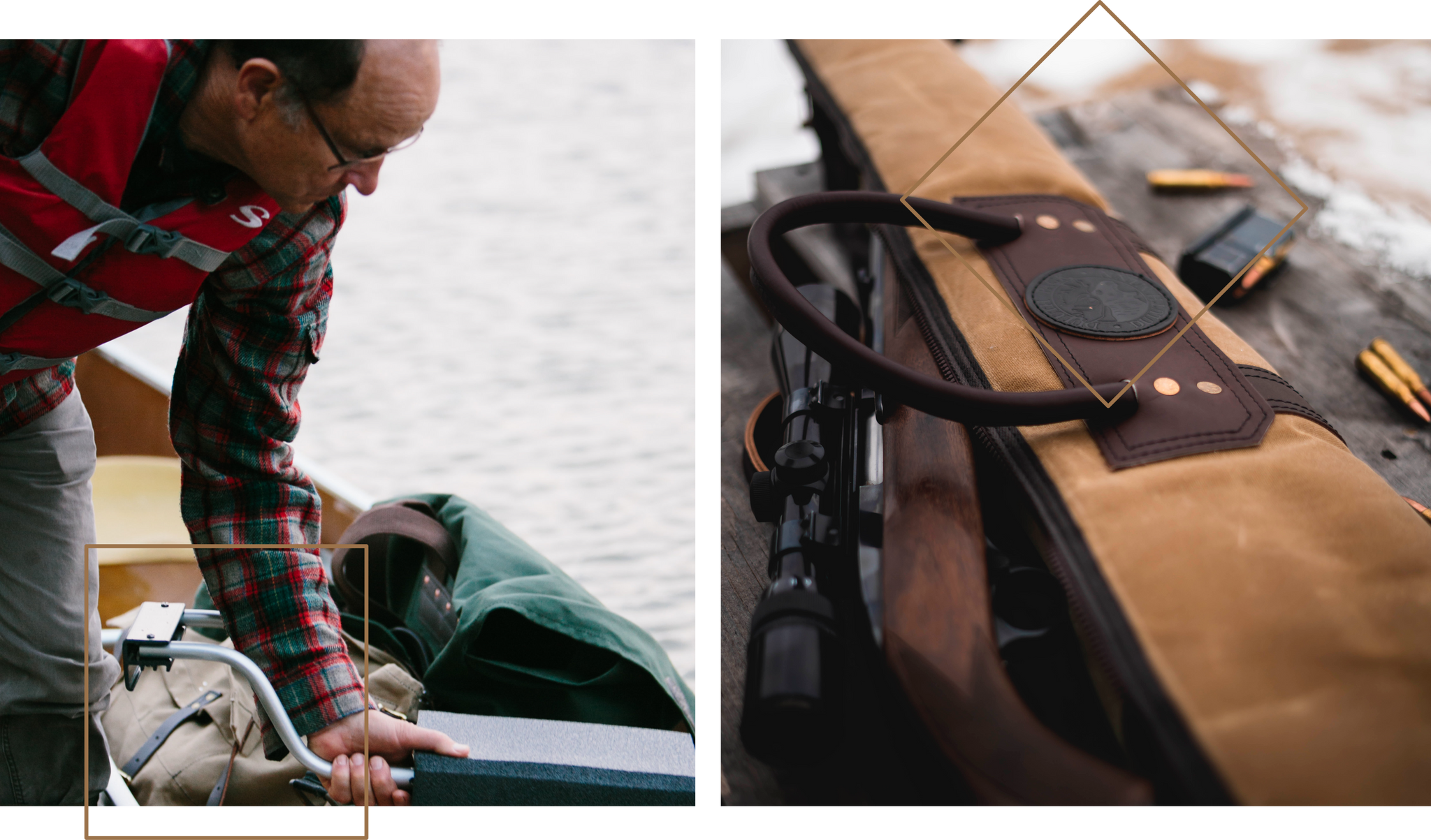 Images of Duluth Pack bags being utilized on the water