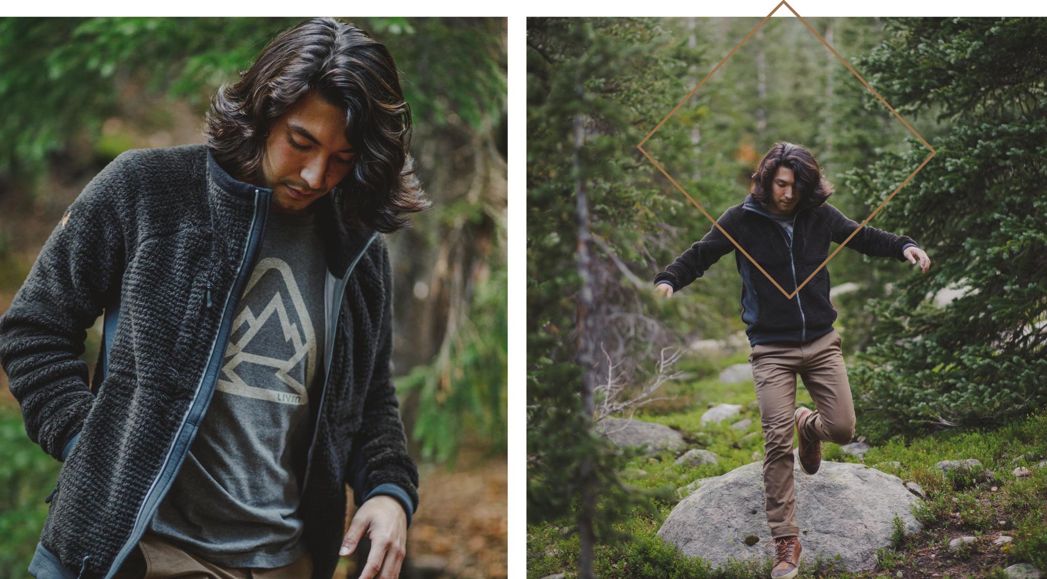 Model wearing the Livsn fleece while trekking through the woods