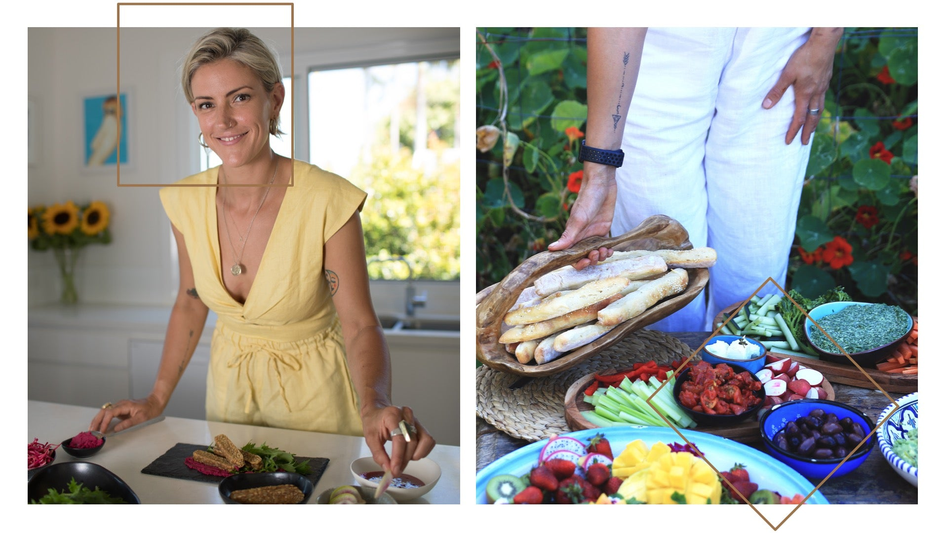 Lucie Dawson in her kitchen and setting a beautiful, colorful table of healthy treats