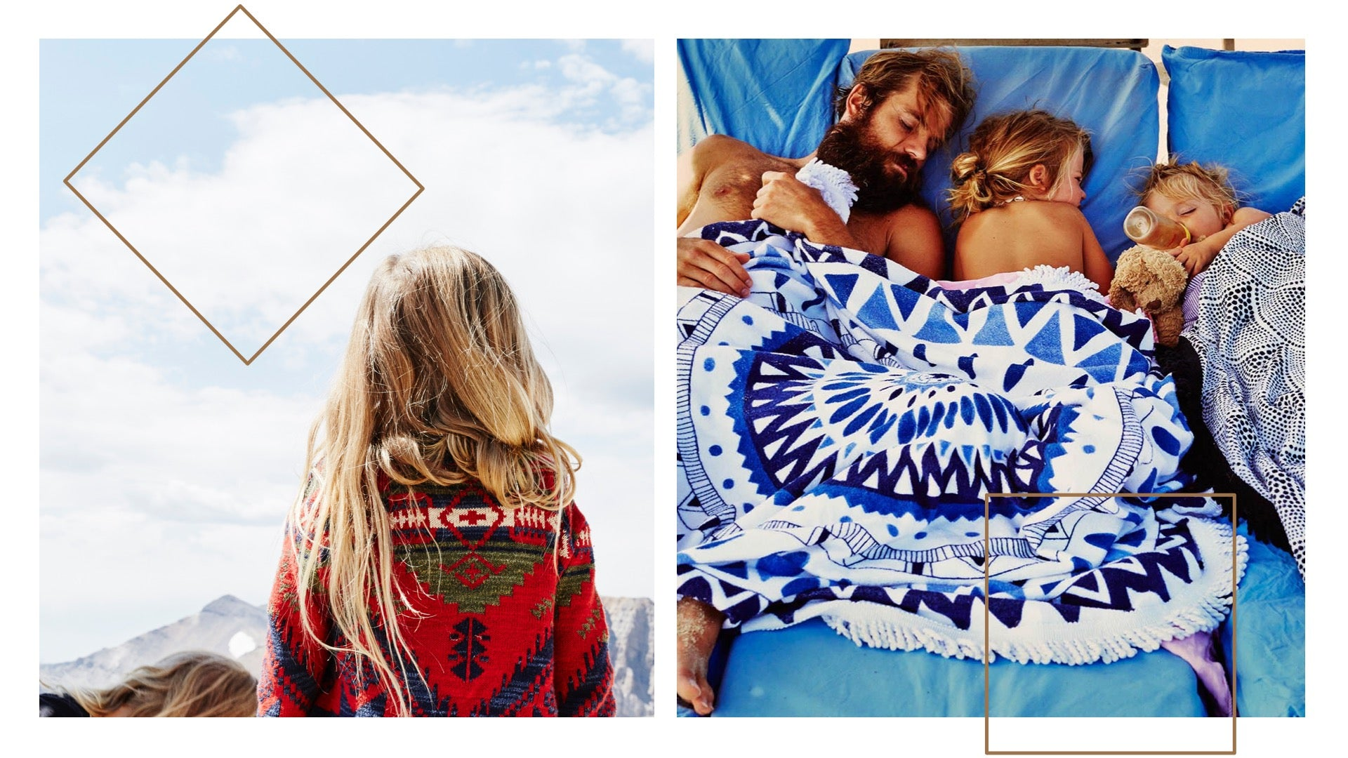 An image of Sheree's family snuggled into a brightly patterned blue quilt