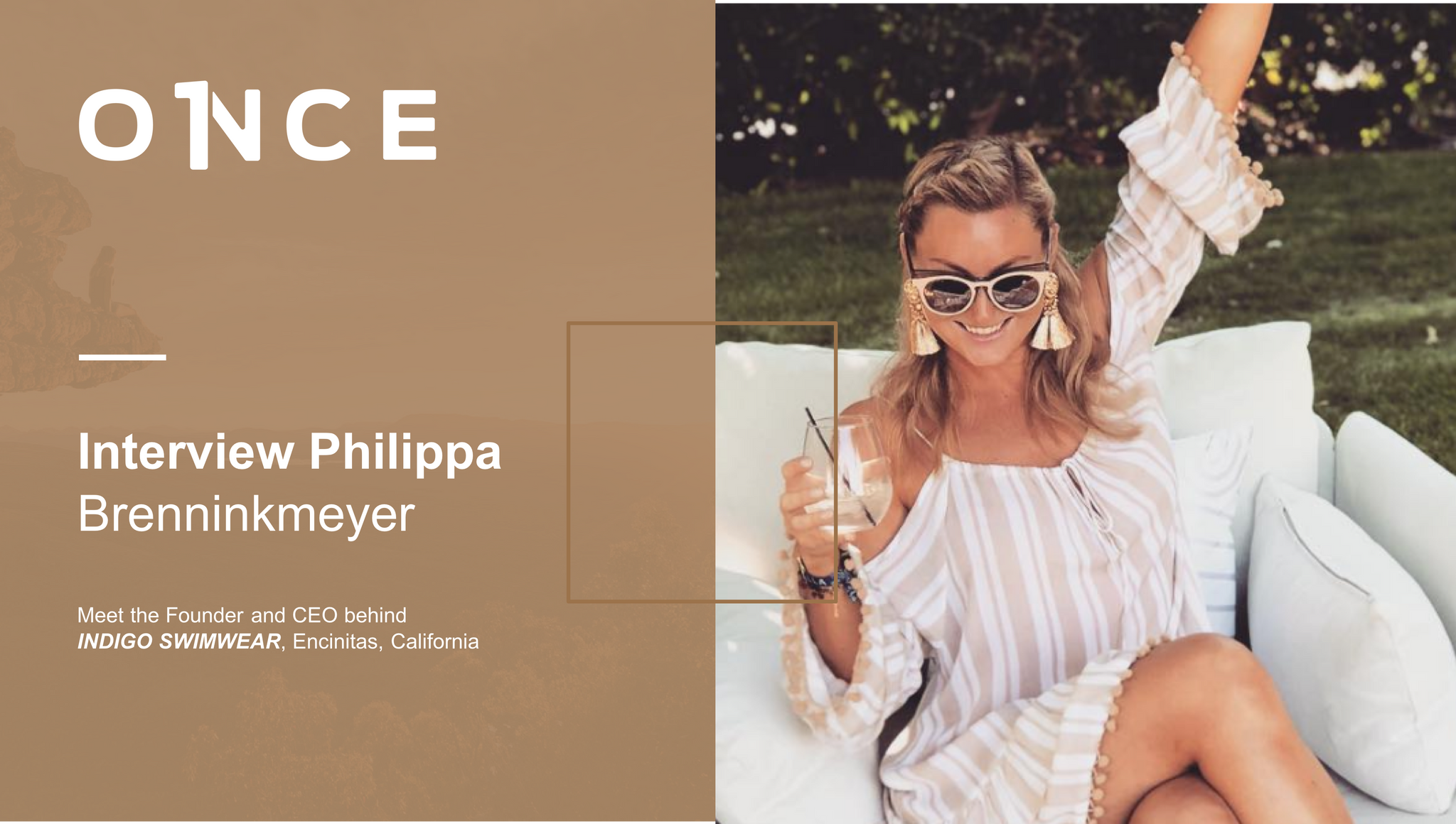 Slide introducing the interview with Philippa Brenninkmeyer of INDIGO SWIMWEAR