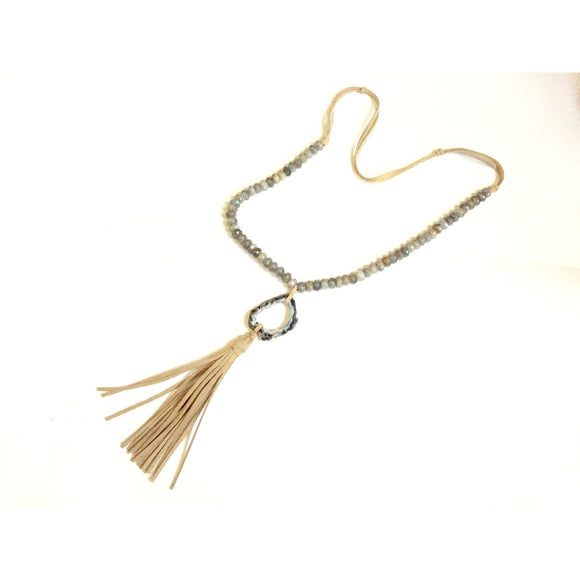 Brena Geode Tassel Necklace-Fig Tree Jewelry & Accessories