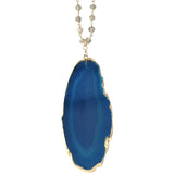 Abby Blue Agate Sliced Stone Necklace