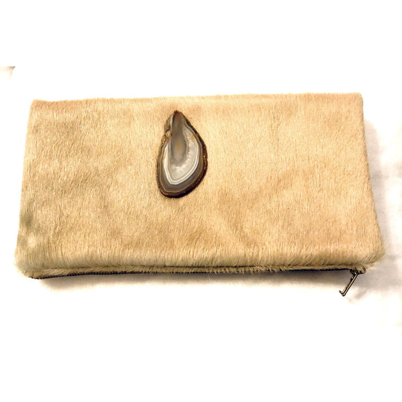 Lyn Agate Brown Cowhide Clutch Handbag