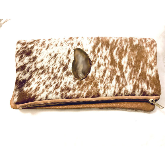 Lyn Brown Speckled Agate Cowhide Clutch Handbag