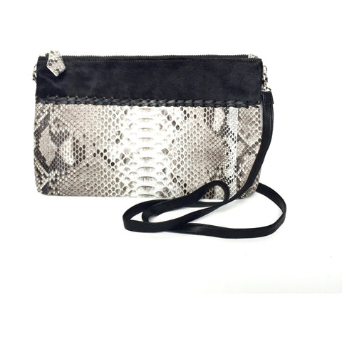 Sydney Black Crossbody Python Clutch