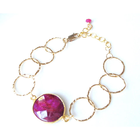 Alla Ruby Quartz Stone Circle Chain Bracelet