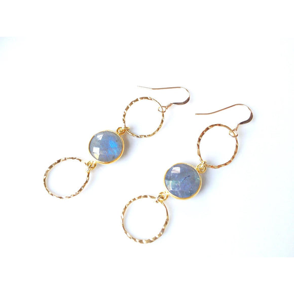 Bali Stone Labradorite Bezeled Triple Drop Earrings