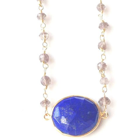 Adaire Lapis & Smoky Quartz Bezel Pendant Necklace