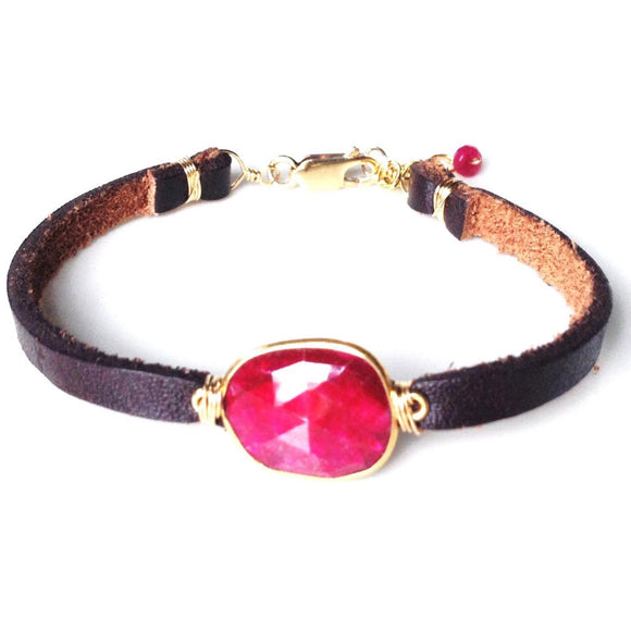 Brea Ruby Quartz Single Leather Wrap