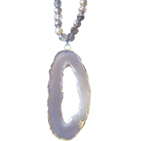 Abley Geode Sliced Beaded Long Necklace