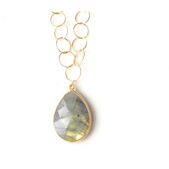 Abria Labradorite Bezel Pendant Necklace-Fig Tree Jewelry & Accessories